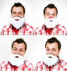 4 Santa Mustaches with Beards on sticks  Holiday by MisterMustache, $58.00