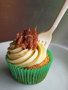 BBQ pulled pork cupcakes- cornbread cupcakes, maple butter frosting, topped with BBQ pulled pork.