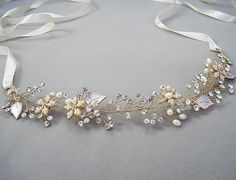 Grecian hair vine, wedding headband, bridal headpiece, Wedding halo, Pearl and rhinestone headband, Ribbon,Rose gold, Silver,Nature inspired