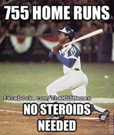"On April Henry (""Hank"") Aaron broke Babe Ruth's major league baseball record, by hitting his home run in a game at Atlanta stadium against the Los Angeles Dodgers. Braves Baseball, Sports Baseball, Baseball Players, Baseball Stuff, Baseball Memes, Baseball Pictures, Sports Memes, Baseball Cards, Softball Memes"