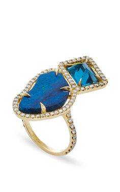 Blue Topaz and Azurite Ring by Jordan Alexander