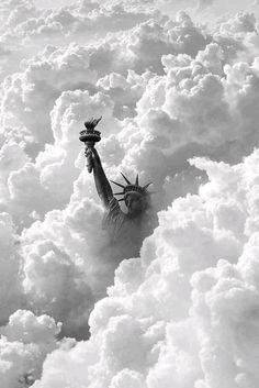 The Statue of Liberty peeking out from the clouds, New York City, NY, USA. City Photography, Canon Photography, Lifestyle Photography, New York Guide, Image New, Concrete Jungle, Our Lady, Land Scape, Foto E Video