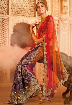 Purple, #Orange and Red Net and Brocade #Saree with Blouse