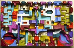 Andrea Zucchi, Imballaggio 046, 2013, 64x96x13 cm, olio e acrilico su cartone sagomato su legno.
