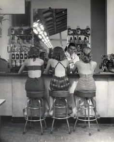Sofie and Estef we need to find an old fashioned soda fountain at a drug store so we can have milkshakes and sundaes and take this picture. Description from pinterest.com. I searched for this on bing.com/images
