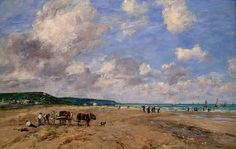 Eugène Boudin : La Plage de Deauville (1893)   Peintures des Musées de France: CAEN