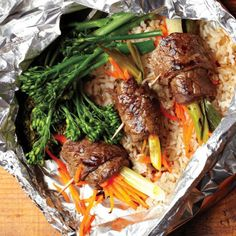 Grilled Beef Negimaki With Broccolini And Rice Foil Packets Recipe To ...