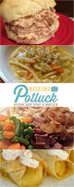 Featured recipes at Weekend Potluck #244-Copycat Bob Evans Chicken & Noodles from The Better Baker, Crock Pot Fiesta Crack Chicken from Chasing Saturdays, Cinnamon Apple Enchiladas from With a Blast, &  the hostess recipe - Favorite Pot Roast Recipe from Sweet Little Bluebird.