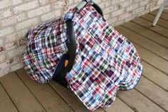 Madras Patchwork Plaid carseat canopy cover.    www.trendybaby.etsy.com
