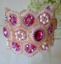 Rivoli Beadwoven Cuff Bracelet PInk Fuschia  Unique Beaded Beadwork Beadweaving Jewelry Sweet Berries. 80.00, via Etsy.