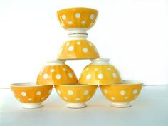 Set of 6 French vintage Sarreguemines cafe au lait bowl.  YELLOW with white polka dots . French country shabby chic
