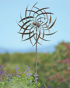Delicieux Dahlia Wind Spinner W Kinetic Sculpture Made Of Powder Coated Steel With An  Aged Bronze Finish