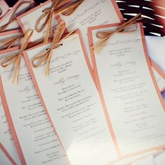 Casual, rustic wedding programs