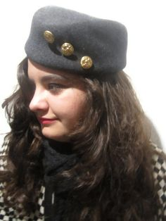 50s style Grey Wool Felt Pillbox Hat by TOUCAN New by mckayzoo, $28.95
