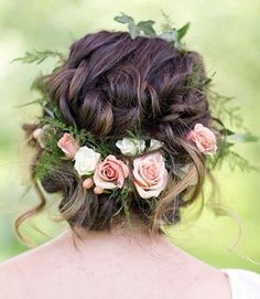 Wedding Hairstyles Updo Gorgeous loose braided updo wedding hairstyle with pink flower crown; Featured Photographer: Lieb Photographic, Via Twobirds Bridesmaid - Wedding Hairstyles Wedding Hair And Makeup, Wedding Updo, Hair Makeup, Floral Wedding Hair, Wreath Wedding Hair, Wedding Flower Hair, Whimsical Wedding Hair, Boho Makeup, Floral Hair