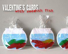 Printable Valentine's Cards - Swedish Fish Bowls