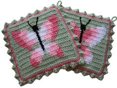 Butterfly Potholders.  Green crochet pot holders with ombre pink butterflies. Butterfly decor