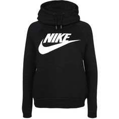 Nike W Nsw Rally Hoodie Gx1 ($75) ❤ liked on Polyvore featuring tops, hoodies, nike hoodies, drawstring hoodie, cotton hoodies, nike and logo hoodie