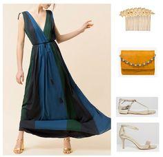 Blue and green long dress+golden sandals+mustard clutch+golden comb. Late Summer Evening Wedding Outfit 2016 Vestido largo en azul y +sandalias doradas+clutch mostaza+peineta dorada. Outfit para una Boda de Noche, Otoño 2016