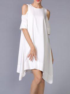 Shop Mini Dresses - White Asymmetrical Simple Cutout Mini Dress online. Discover unique designers fashion at StyleWe.com.