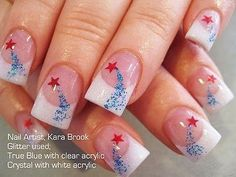 of July nails, red nails with blue white fan brush accents, silver glitter free hand nail art Holiday Nail Art, Christmas Nail Art Designs, Christmas Nails, Christmas Holiday, Fancy Nails, Love Nails, Pretty Nails, Patriotic Nails, Nail Art Sticker
