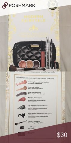 Bare Minerals 9 piece face and lip collection All over face color eye color in charcoal and royal reign marvelous moxie lip gloss in spell breaker lash domination mascara cream glide eyeliner eye and cheek brush pencil sharpener and carry all bag bareMinerals Makeup Eyeshadow