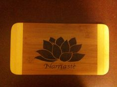 Namaste yoga cutting board  on Etsy, $20.00 CAD
