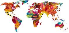 Map Of The World 2  Travel Art  Mixed Media Painting  Sharon Cummings  2012
