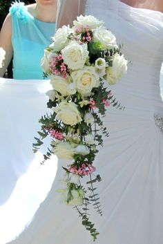 Long Bridal bouquet of ivory rose and Stephanotis at Northbrook Park by Fiona Curry Flowers
