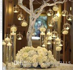 Dia 8cm Glass Balls Candles,10cm Globe Hanging Tealight Holder For Wedding…