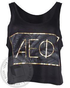 Alpha Epsilon Phi Gold Palms Tank Top by ABD! Adam Block Design | Custom Greek Apparel & Sorority Clothes |www.adamblockdesign.com