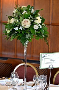 Tall Spring table centre at Langrish House in whites and greens. Spring Wedding Centerpieces, Wedding Table Flowers, Spring Wedding Flowers, Floral Wedding, Wedding Bouquets, Wedding Decorations, Table Centre Pieces Wedding, Stage Decorations, Christmas Decorations