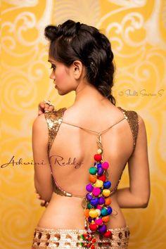 backless blouse, choli, latkans, tussle, sequence, deep neck by Ashwini Reddy/ PRASHWI