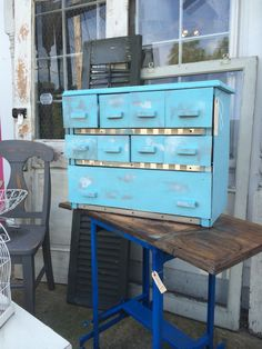 Industrial set of drawers perfect for a craft room