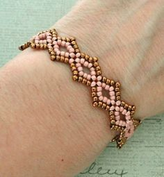 Linda's Crafty Inspirations: Seed Bead Lacy Bracelet - Pink & Bronze