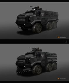Concept Art by Adrian Mihai Marchidan on ArtStation. Big Rig Trucks, Lifted Ford Trucks, Army Vehicles, Armored Vehicles, Military Diorama, Military Art, Spaceship Concept, Concept Cars, Expedition Vehicle