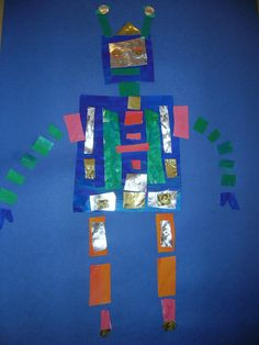 elementary art lesson project collage metallic robots geometric shapes