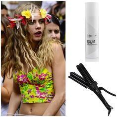 Recreate Cara Delevingne's Carnival Curls by applying label.m Blow Out Spray before sectioning hair and using the label.m Triple Barrel Waver on each section. Brush out with a label.m Grooming Brush for a soft finish.