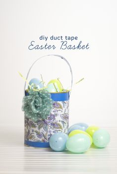 DIY Easter Basket made from Scotch Brand Duct Tape. Sea Blue + Paisley Princess