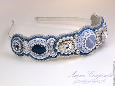 Купить Ободок Нордический - синий, белый, белый синий, ободок для волос, ободок вышитый, ободок