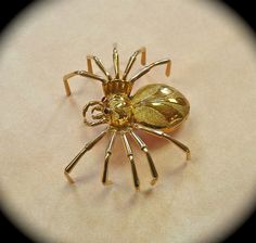 18k Yellow Gold Spider Sculptural Spider Pin from bejewelled on Ruby Lane
