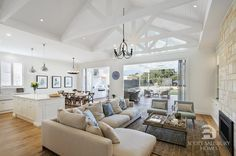 The living room of our Hamptons inspired home, designed and styled by Amity Dry and built by Scott Salisbury Homes. Roof Design, House Design, Salisbury Homes, Open Plan Living, Inspired Homes, The Hamptons, Shabby Chic, New Homes, Lounge