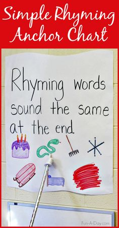 Superstars Which Are Helping Individuals Overseas Simple Rhyming Anchor Chart - An Easy And Effective Way To Introduce And Teaching Rhyming. I Love That This Simple Activity Can Teach So Much Rhyming Kindergarten, Kindergarten Anchor Charts, Rhyming Activities, Preschool Lessons, Early Literacy, Preschool Kindergarten, Preschool Plans, Language Activities, Kindergarten Reading