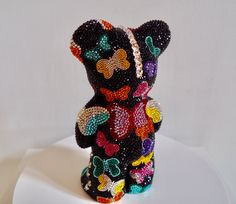 French Bruno by J. Edelweiss, Minnie Mouse, Teddy Bear, French, Disney Characters, Art, Pink, Bulldog Breeds, Crystals
