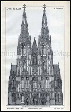Architectural Drawing Cathedral of Cologne by AntiquePrintsAndMaps