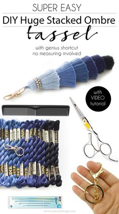 DIY huge stacked ombre tassel with genius shortcut. No measuring involved! Video tutorial included
