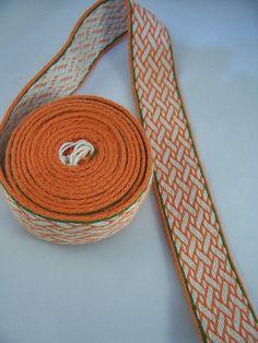 Hand Woven Tablet Weaving Trim Orange White and Green by DuskShade, $65.00