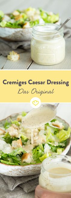 Only with the creamy salad dressing made from egg yolk and anchovy fillets will crunchy lettuce leaves, croutons and parmesan become a real Caesar salad. Caesar salad dressing: the original for remixing LanisLeckerEcke LanisLeckerEcke Salate und Dr Homemade Caesar Salad Dressing, Creamy Salad Dressing, Dressing Caesar, Sauce Crémeuse, Salad Sauce, Pasta Salad, Egg Salad, Good Food, Yummy Food
