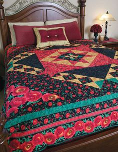 Warm any bedroom with this dramatic queen size medallion quilt. Poppy Dreams includes a star block center created with foundation (paper) piecing for 100% accuracy.