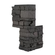 GenStone Exterior ft Gray/Charcoal Faux Stone Veneer at Lowe's. Our Iron Ore Stacked Stone Outside Corner panel returns the shiplap around the outside of a corner and eliminates the need to miter panels. Stone Siding Panels, Faux Stone Siding, Stone Veneer Panels, Faux Stone Panels, Square Columns, Stone Columns, Faux Stone Veneer, Dry Stack Stone, Metal Beam